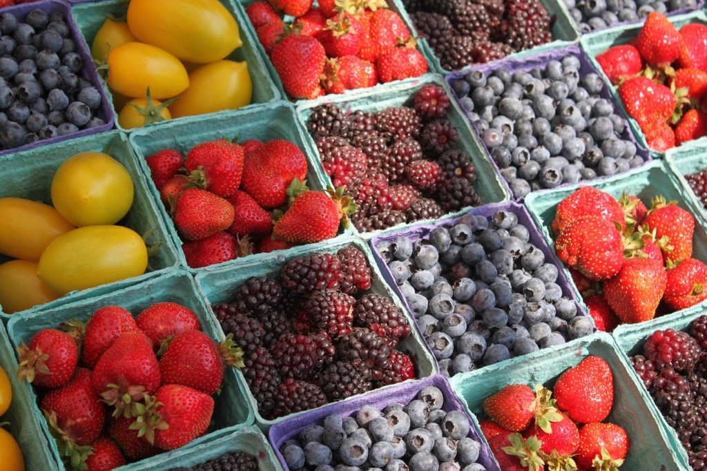 farmers, market, berries
