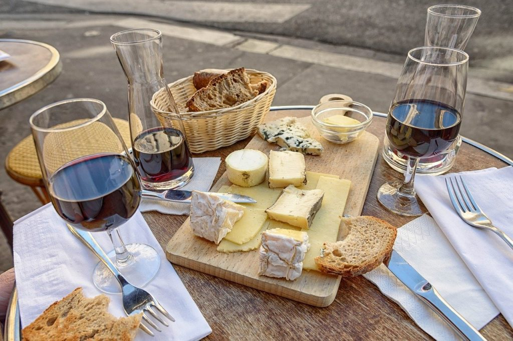 wine, cheese, bread
