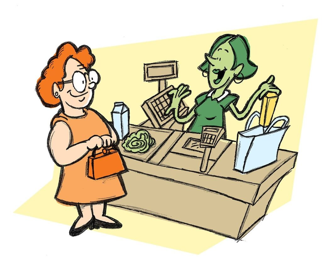 cashier, groceries, supermarket